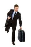 Corridas atractivas jovenes del hombre de negocios Imagen de archivo libre de regalías