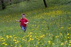 Corridas da criança em um jardim das flores Fotos de Stock Royalty Free