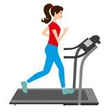 Corridas da jovem mulher em uma escada rolante Imagem de Stock Royalty Free