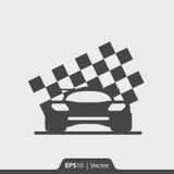 Corridas de carros com ícone da bandeira da raça para a Web e o móbil fotos de stock