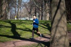 Corridas do homem novo através do parque Imagem de Stock Royalty Free
