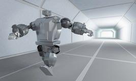 Corridas do robô no corredor do espaço ilustração royalty free