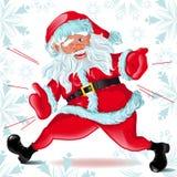 Corridas y guiños de Papá Noel Foto de archivo