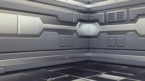 Corridoi di rappresentazione interni dell'astronave di fantascienza di romanzo del fondo di scienza, illustrazione 3D royalty illustrazione gratis