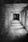 Corridoio abbandonato lungo con le ombre fotografia stock libera da diritti