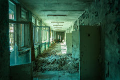 Corridoio abbandonato nel pripyat Fotografie Stock Libere da Diritti