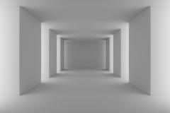 Corridoio bianco vuoto con le colonne bianche Fotografia Stock Libera da Diritti