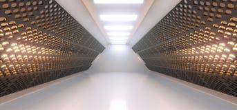 Corridoio bianco vuoto realistico con la griglia Mesh Walls And Lights royalty illustrazione gratis