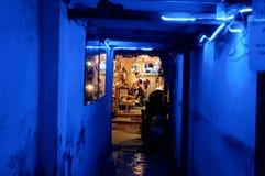 Corridoio blu illuminato al salone di capelli Immagine Stock Libera da Diritti