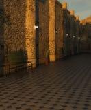 Corridoio con il pavimento e banco al tramonto Fotografia Stock Libera da Diritti