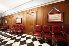 Corridoio con le porte nel grande palazzo di Cremlino Fotografie Stock