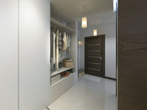 Corridoio con un corridoio nello stile contemporaneo con un guardaroba e una a Fotografie Stock
