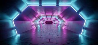 Corridoio concreto riflettente straniero futuristico moderno luminoso Tunn illustrazione vettoriale