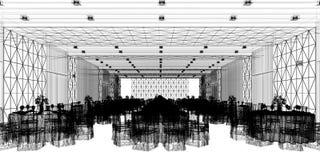 Corridoio 3d di banchetto, rendente Fotografie Stock Libere da Diritti