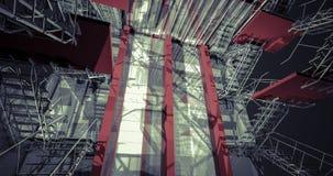 corridoio 3D Interno industriale moderno, scale, spazio pulito dentro i Fotografie Stock