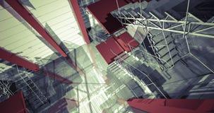 corridoio 3d Interno industriale moderno, scale, spazio pulito in indu Immagine Stock