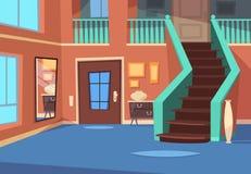 Corridoio del fumetto Interno dell'entrata della Camera con le scale e lo specchio Fondo dell'interno di vettore del fumetto illustrazione vettoriale