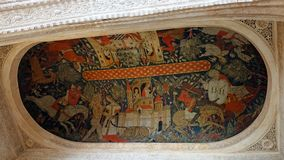 Corridoio della pittura del soffitto di re al palazzo di Nasrid di Alhambra a Granada, Andalusia fotografia stock