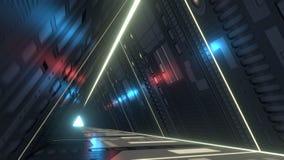 Corridoio di Sci fi con le luci ultraviolette infrarosse e rappresentazione 3d Fotografia Stock