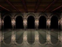 Corridoio e arché del castello Fotografie Stock Libere da Diritti