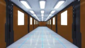Corridoio futuristico dell'interno dell'astronave Immagini Stock