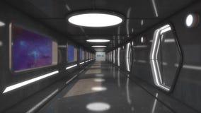 Corridoio futuristico dell'interno dell'astronave Fotografia Stock