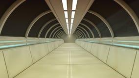 Corridoio futuristico dell'interno dell'astronave Fotografie Stock