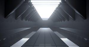 Corridoio futuristico della nave di fantascienza vuota scura con Surfa riflettente illustrazione vettoriale