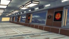 Corridoio futuristico di architettura del fondo Immagini Stock