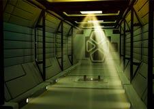 Corridoio futuristico di fantascienza di un'astronave immagine stock