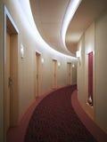 Corridoio leggero spazioso dell'hotel nello stile moderno Immagini Stock