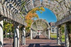 Corridoio lungo a Christopher Columbus Waterfront Park, Boston fotografie stock