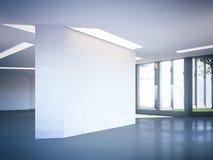 Corridoio moderno dell'ufficio con la parete in bianco rappresentazione 3d Fotografia Stock Libera da Diritti
