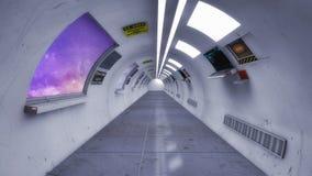 Corridoio moderno e futuristico dell'astronave Fotografie Stock Libere da Diritti