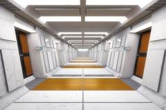 Corridoio moderno e futuristico dell'astronave Fotografia Stock