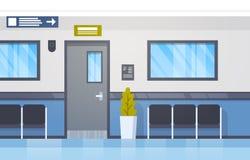 Corridoio moderno vuoto interno della clinica di Hall With Seats And Door dell'ospedale Immagini Stock