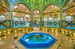 Corridoio ottagonale di Sultan Amir Ahmad Qasemi Bathhouse, Kashan, immagini stock libere da diritti