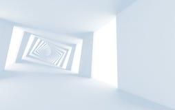 Corridoio a spirale torto bianco astratto 3d Fotografia Stock Libera da Diritti