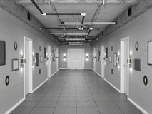 Corridoio stile sottotetto scuro vuoto con le porte bianche illustrazione 3D Fotografia Stock