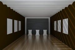 Corridoio vuoto del museo, rappresentazione 3d Fotografia Stock Libera da Diritti