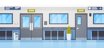 Corridoio vuoto di Hall With Seats And Door della clinica dell'ospedale Fotografia Stock