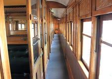 Corridoor velho do interior do trem do vapor Fotos de Stock Royalty Free