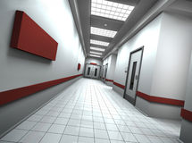 Corridor. Hospital/office corridor with empty sign on the wall. 3D rendered image Royalty Free Stock Image