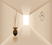 Corridor. Illustration of the vase against the background of walls with a clock Stock Photography