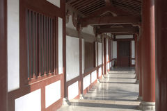 Corridor. Chinese traditional wooden architecture of corridor in outdoor Royalty Free Stock Images
