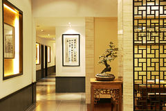 Corridor. Chinese-style corridor with bonsai royalty free stock photography