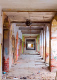 Corridor. In the collapsing house in the afternoon Stock Photo