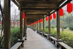 Corridor. Flower corridor with green shrubs in china Stock Photos