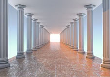 Corridor. 3D Render of an ancient corridor with columns and a bright light to the end Royalty Free Stock Photography