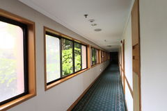 Corridor. With windows in office center Royalty Free Stock Image